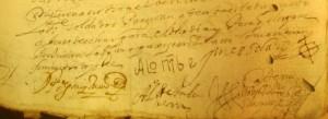 rubricas del gobernador, alcaldes y regidores del concejo de Serón en 1664
