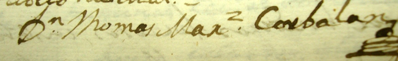 Firma del fraile Tomás Martínez Corbalán